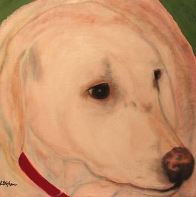Labrador Retreiver Painting - White Lab - Sugar by Laura  Grisham