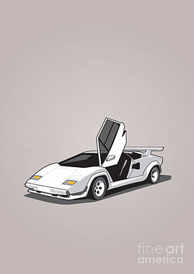 Crisis Mixed Media - White Lamborghini Countach by Monkey Crisis On Mars