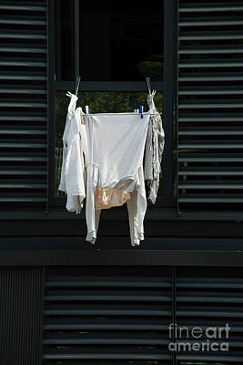 Photograph - White Laundry On Black Background by Patricia Hofmeester