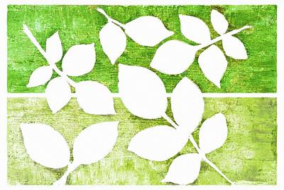 Mixed Media - White Leaves Silhouette On Textured Green by Patricia Strand