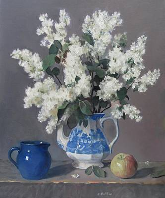 Painting - White Lilacs Get The Blues by Robert Holden