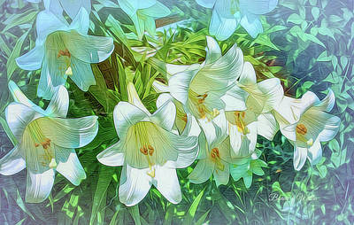 Digital Art - White Lilies by Bonnie Willis