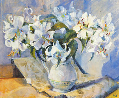 White Lily Painting - White Lilies In White Jug by Sue Wales