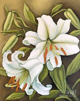 White Lilies Art Print by Inese Poga
