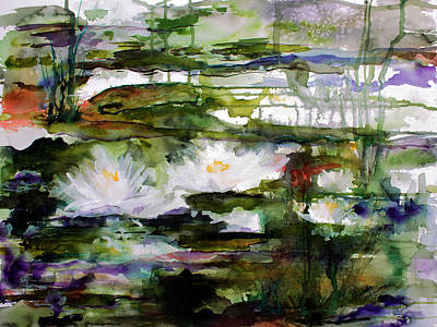 White Lilies On Black Water Wetland Art Print