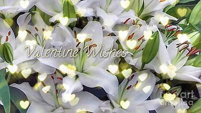 Photograph - White Lilies Valentine Wishes by Joan-Violet Stretch