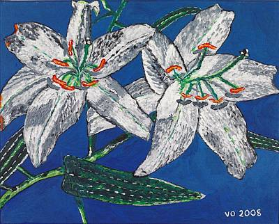 White Lilies Art Print by Valerie Ornstein