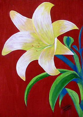 Lilium Painting - White Lilly by Silpa Saseendran