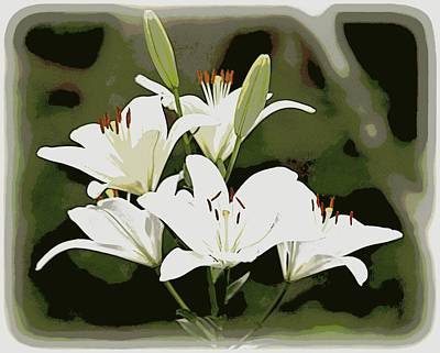 Photograph - White Lily Cluster by Sheri McLeroy