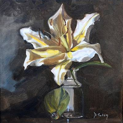Flower Painting - White Lily by Donna Tuten