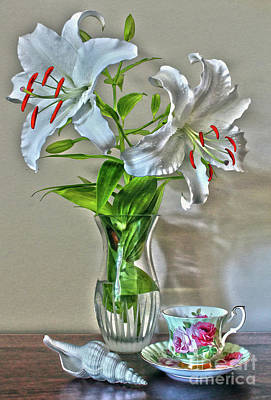 Photograph - White Lily, Shell, And Tea Cup Still Life by Nina Silver