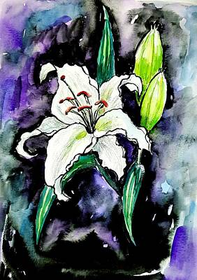 Painting - White Lily Watercolor  by Hae Kim