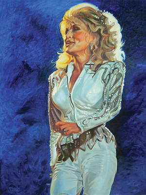 Painting - White Limozeen - Dolly Parton by Maria Modopoulos