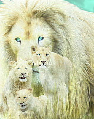 Mixed Media - White Lion Family - Forever by Carol Cavalaris