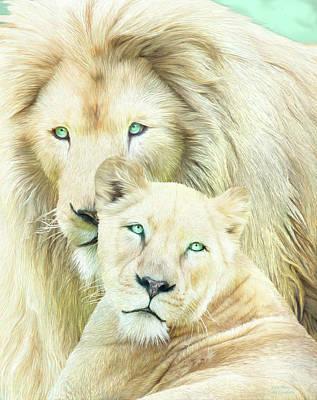 African Lion Art Mixed Media - White Lion Family - Mates by Carol Cavalaris