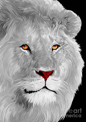Painting - White Lion by Three second