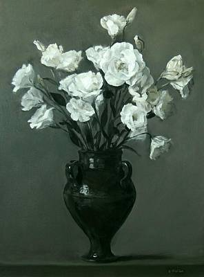 Moroccan Vase Painting - White Lisianthus In Green Pottery Footed Vase by Robert Holden
