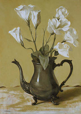 Painting - White Lisianthus In Silver Coffeepot by Robert Holden