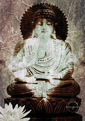Digital Art - White Lotus Buddha - Brown by Absinthe Art By Michelle LeAnn Scott