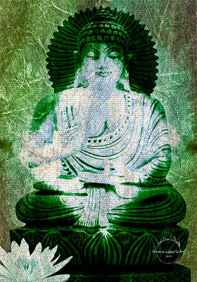 Digital Art - White Lotus Buddha - Green by Absinthe Art By Michelle LeAnn Scott