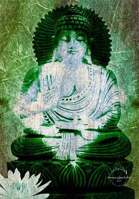 Digital Art - White Lotus Buddha - Green by Absinthe Art By Michelle LeAnn Scott