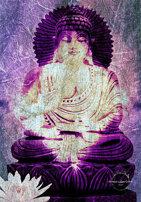Digital Art - White Lotus Buddha - Purple by Absinthe Art By Michelle LeAnn Scott