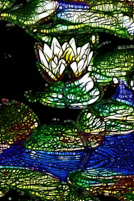 White Lotus In The Pond 6 Print by Lanjee Chee