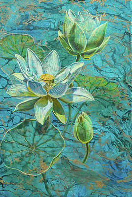 White Lotus Painting - White Lotuses On Marbled Lake by Fiona Craig