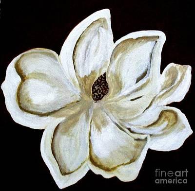 White Magnolia On Black Art Print by Marsha Heiken