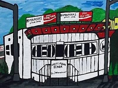 Painting - White Mana Diner In New Jersey by Jonathon Hansen