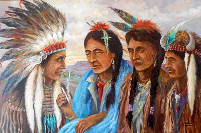 Lynn Burton Wall Art - Painting - White Mans Smokes by Lynn Burton