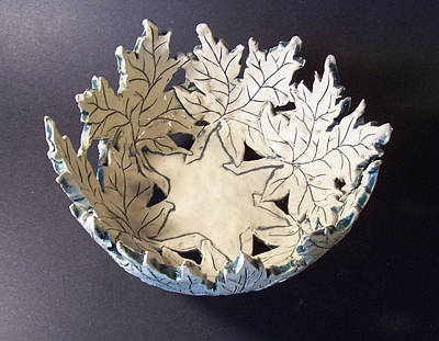 Hand-built Ceramic Art - White Maple Leaf Bowl by Carolyn Coffey Wallace