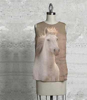 Photograph - White Mare Approaches Sleeveless Top by Heather Kirk