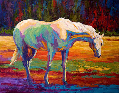 Mustang Painting - White Mare II by Marion Rose