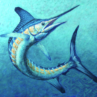 Wall Art - Painting - White Marlin Twist by Guy Crittenden