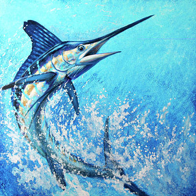 Wall Art - Painting - White Marlin Wide Open by Guy Crittenden