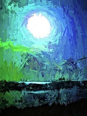 Digital Art - White Moon On The Dark Sea by Jackie VanO