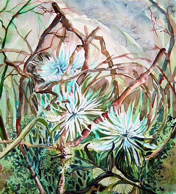 White Mums Art Print by Mindy Newman