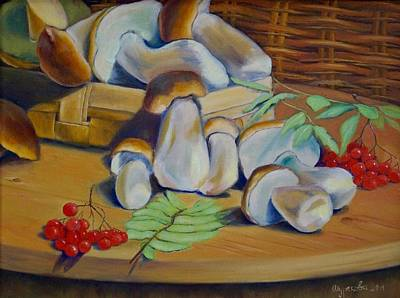 Russianartist Painting - White Mushrooms by Anna Shurakova