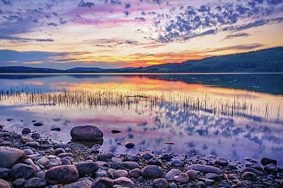 Print featuring the photograph White Night Sunset On A Swedish Lake by Dmytro Korol