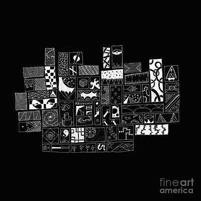 Shape Drawing - White On Black Abstract Art by Edward Fielding