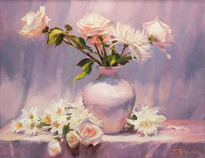 Abstract Rose Wall Art - Painting - White On White by Steve Henderson