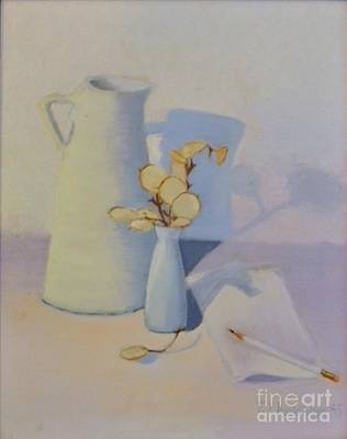 White On White Still Life Art Print by Emily Michaud