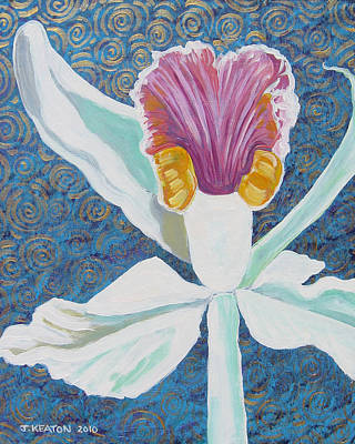 Painting - White Orchid 2 by John Keaton