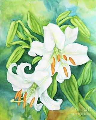 Painting - White Oriental Lilies by Inese Poga