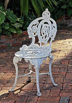Photograph - White Ornate Iron Chair by Bob Slitzan