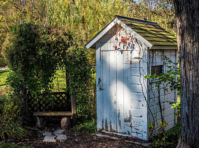 Old Outhouse Photograph - White Out House by Paul Freidlund