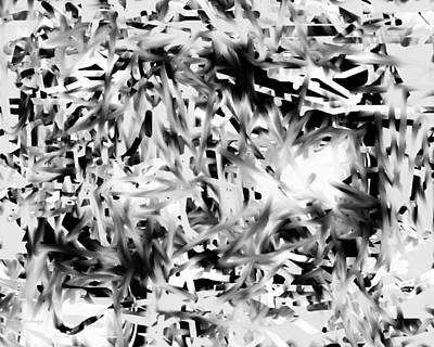 Digital Art - White Out - Tangle by rd Erickson