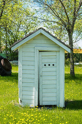 White Outhouse And Wild Flowers Art Print by Donald  Erickson