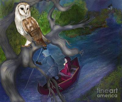 Digital Art - White Owl Magic by Sydne Archambault